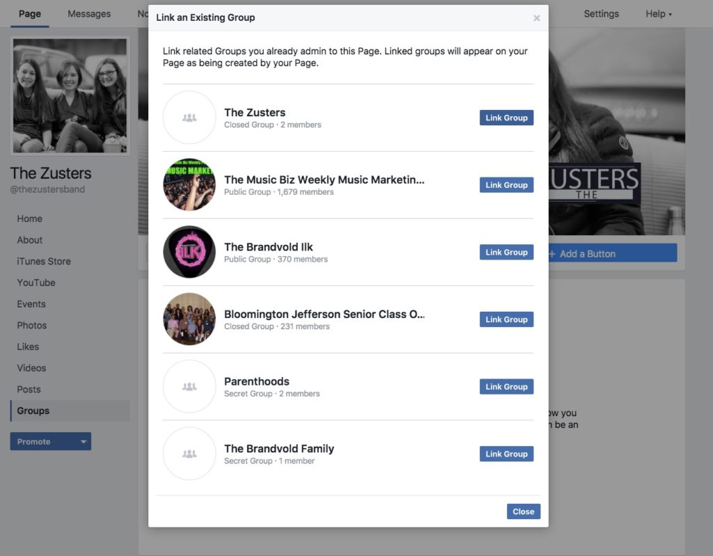 select facebook group to link to facebook page