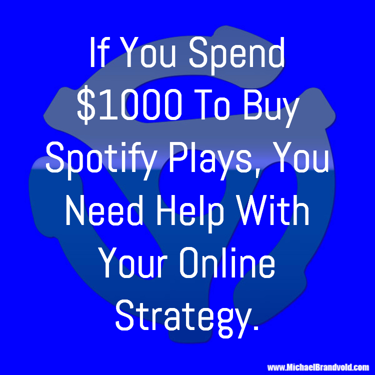 If You Spend $1000 To Buy Spotify Plays, You Need Help With Your Online Strategy.
