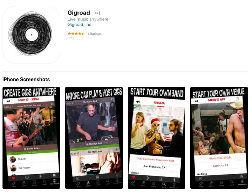 New Mobile App Gigroad, Airbnb for Concerts, Connecting Artists with Fans and Places to Play